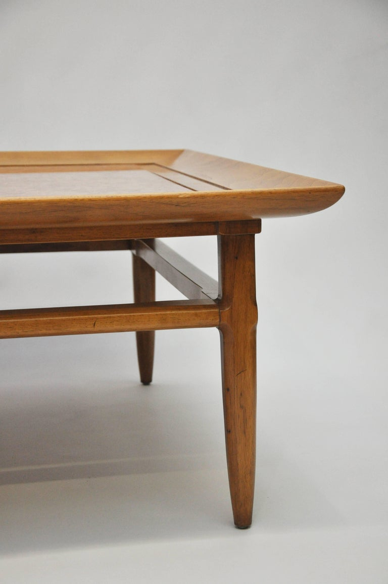 Sleek Mid Century Modern Pecan And Marble Coffee Table By Tomlinson For Sale At 1stdibs