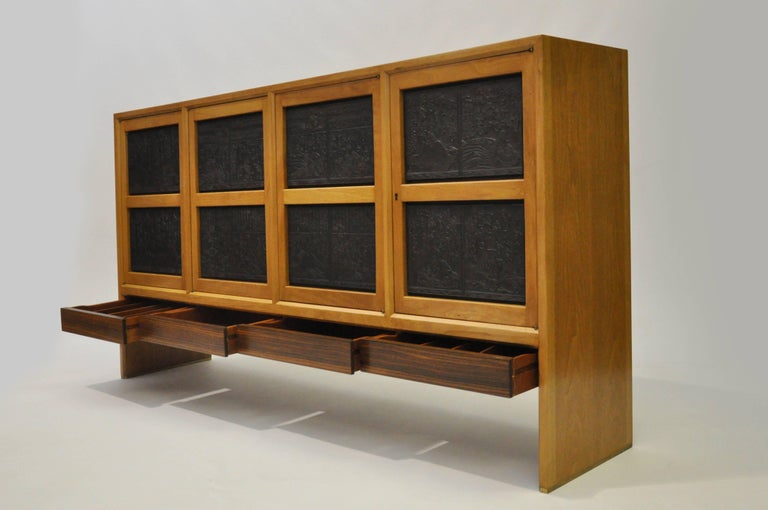 Edward Wormley For Dunbar Janus Cabinet Doors With Antique Asian Panels For Sale At 1stdibs
