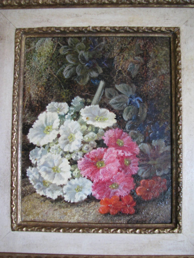 Pink And White Flowers Oil On Panel By Victorian Painter George