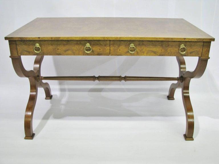 Neoclassical Baker Furniture Regency Style Writing Desk with Burled Walnut Veneer For Sale