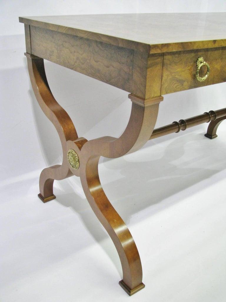 Cast Baker Furniture Regency Style Writing Desk with Burled Walnut Veneer For Sale