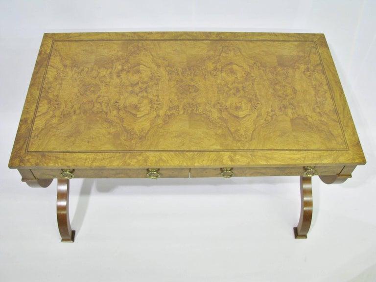 American Baker Furniture Regency Style Writing Desk with Burled Walnut Veneer For Sale