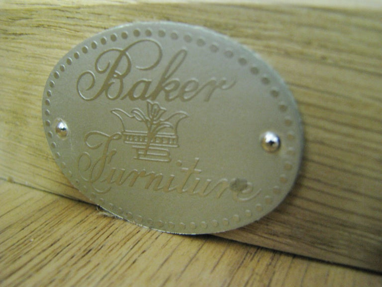 Late 20th Century Baker Furniture Regency Style Writing Desk with Burled Walnut Veneer For Sale