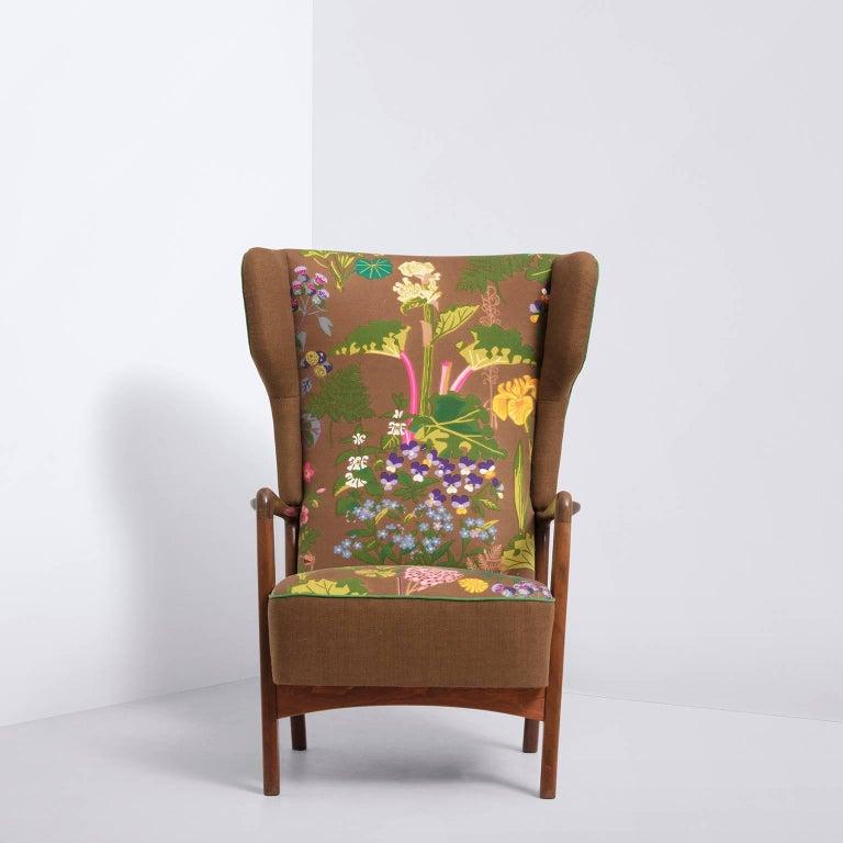Fritz Hansen, Wingback Lounge Chair, Floral Upholstery, by Gocken Jobs, 1950s 2