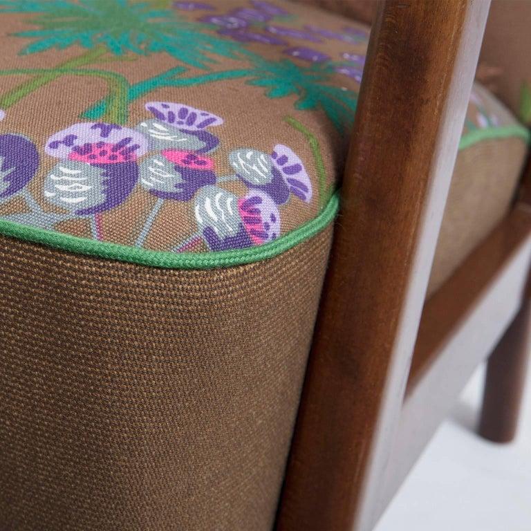 Fritz Hansen, Wingback Lounge Chair, Floral Upholstery, by Gocken Jobs, 1950s 4