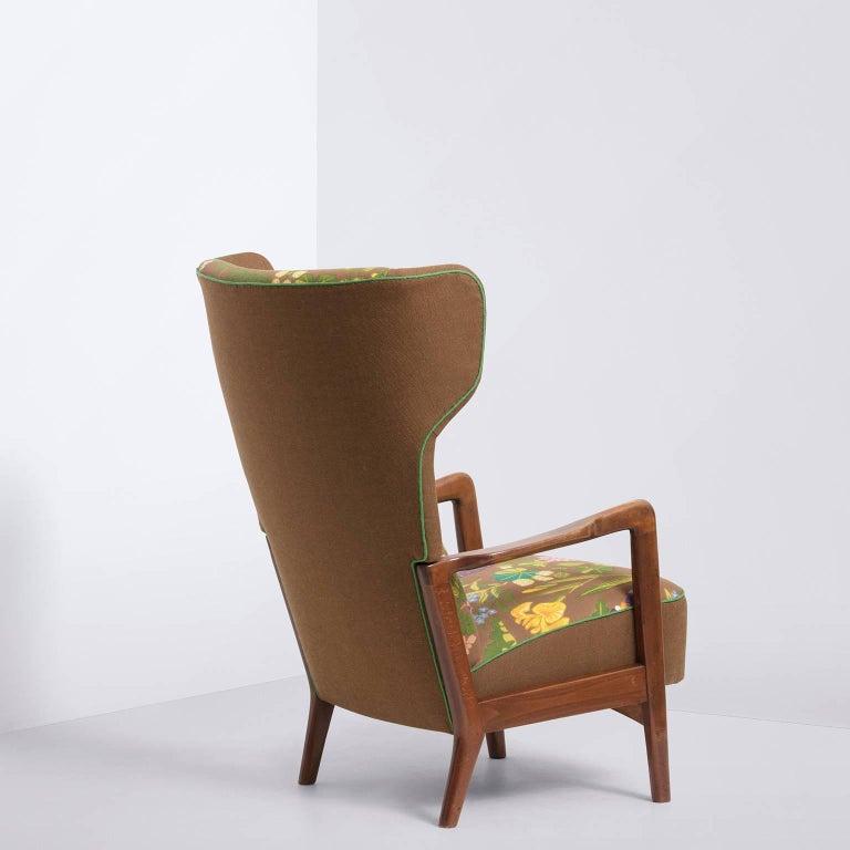 Fritz Hansen, Wingback Lounge Chair, Floral Upholstery, by Gocken Jobs, 1950s 5