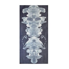 Unique Blue and Cream Contemporary Ink Blot Wallpaper