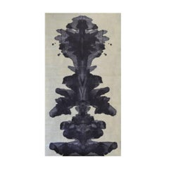 Unique Metallic Silver and Dark Navy Blue Contemporary Ink Blot Wallpaper