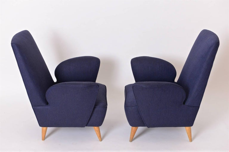 Mid-20th Century Pair of Mid-Century Italian Lounge Chairs in the Manner of Nino Zoncada, c.1950 For Sale