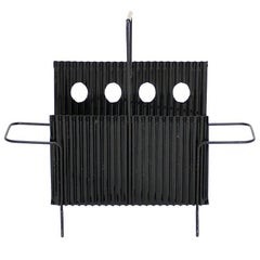 Black Magazine Rack from Java Collection by Mathieu Mategot France, circa 1950