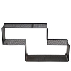 Black Dedal Wall Shelf by Mathieu Mategot, Perforated Steel, circa 1950, France