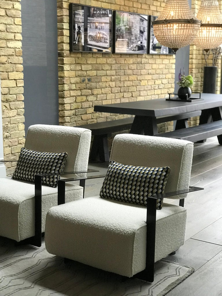 Blackened Modern Industrial Cronos II Armchair in Steel Structure For Sale