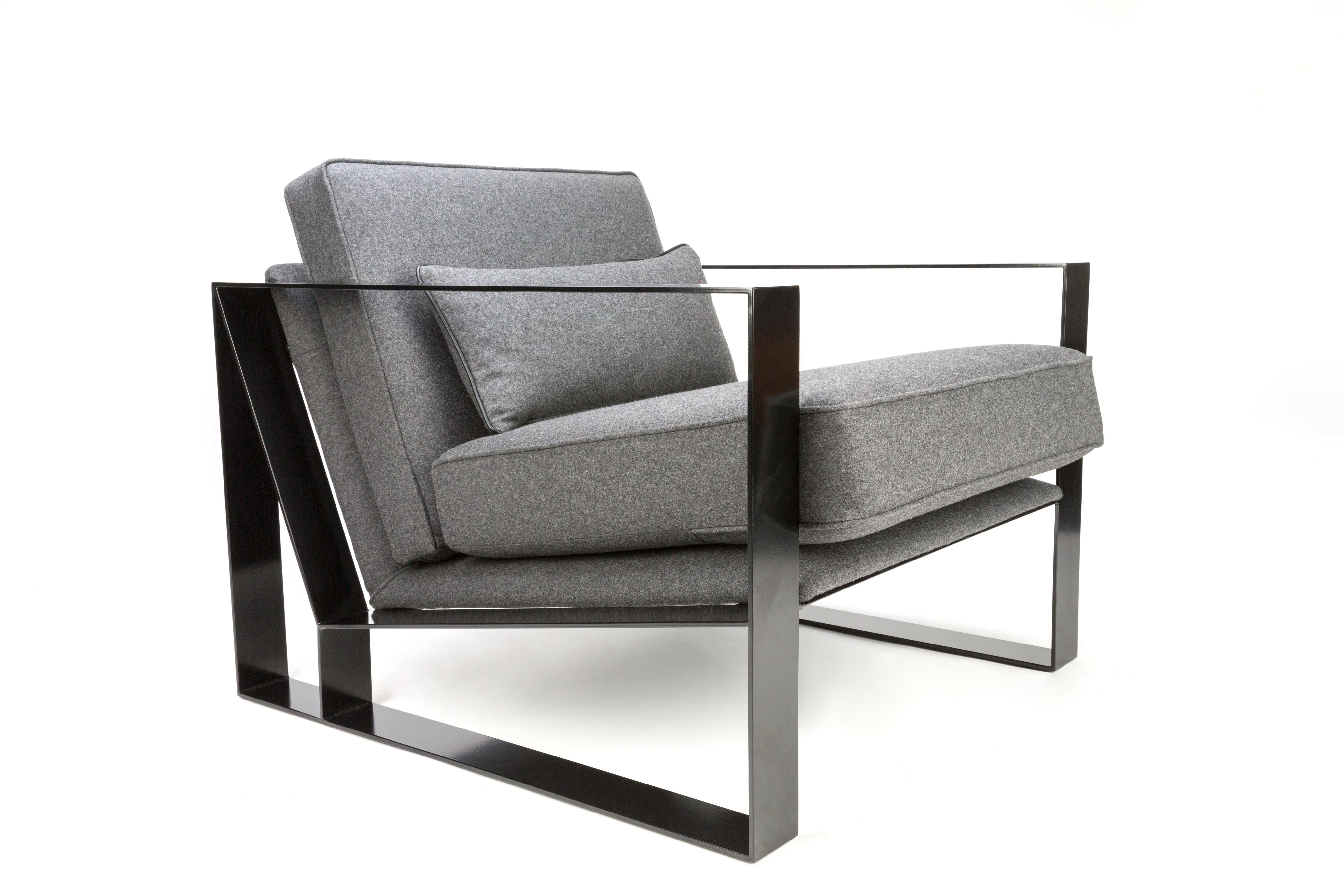 Delightful British Modern Industrial Cronos I Armchair In Steel Powder Coated And  Velvet For Sale