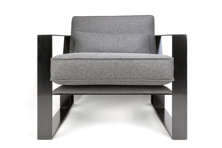 Contemporary Modern Industrial Cronos I Armchair in Steel Powder Coated and Velvet For Sale