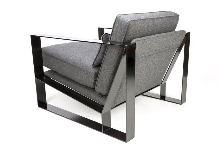 Modern Industrial Cronos I Armchair in Steel Powder Coated and Velvet For Sale 2