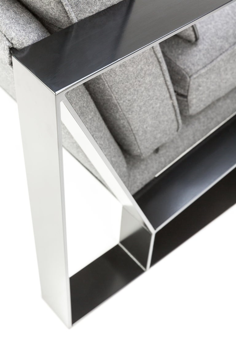 Modern Industrial Cronos I Armchair in Steel Powder Coated and Velvet For Sale 3