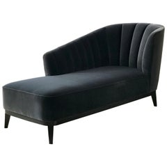 Blue Notte Aphrodite Chaise in Velvet and Black American Walnut