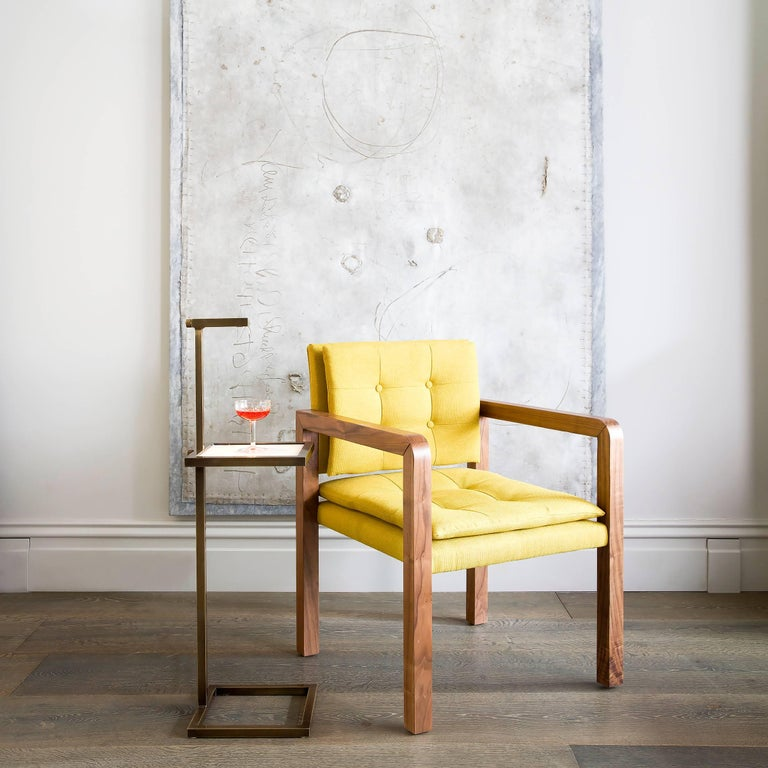 Modern Pair of Bacco Carver Chair in Walnut Upholstered with Lino Mustard, Show Room For Sale