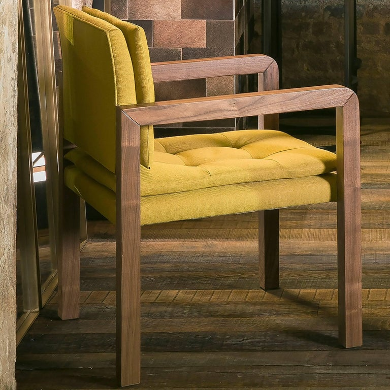 British Pair of Bacco Carver Chair in Walnut Upholstered with Lino Mustard, Show Room For Sale