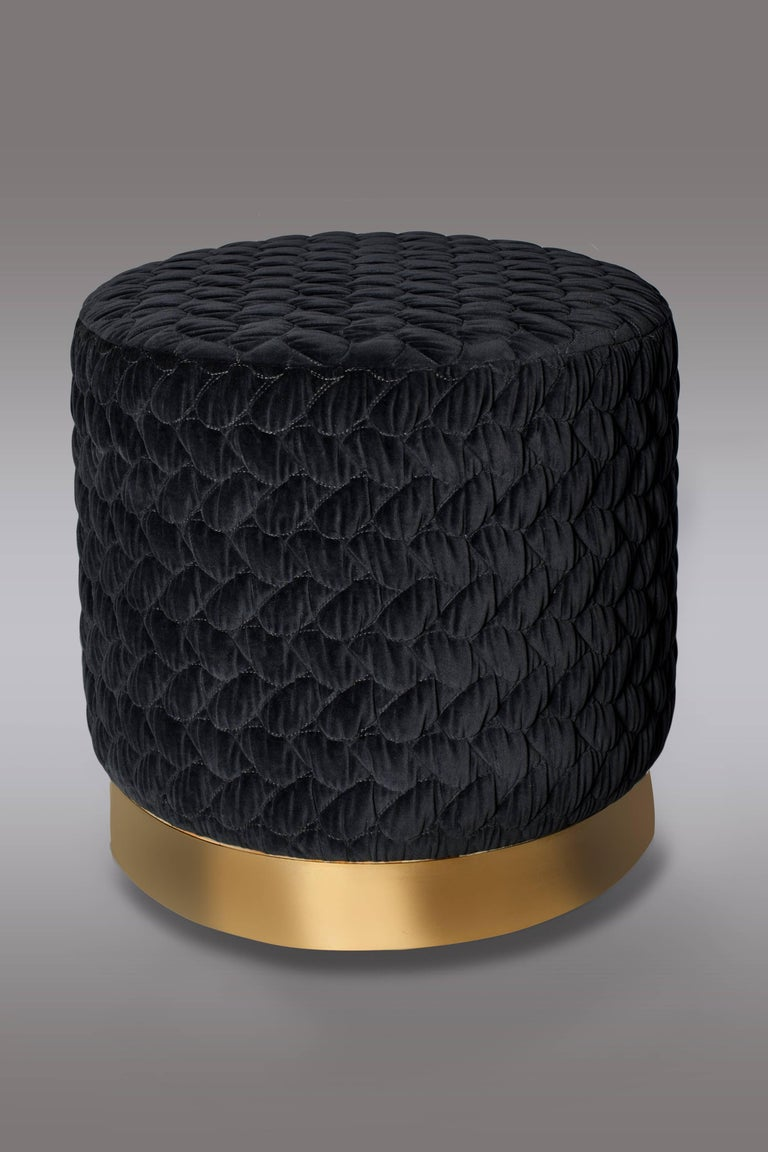 diana pouf upholstered in velvet tresse with brass band made in britain for sale at 1stdibs. Black Bedroom Furniture Sets. Home Design Ideas
