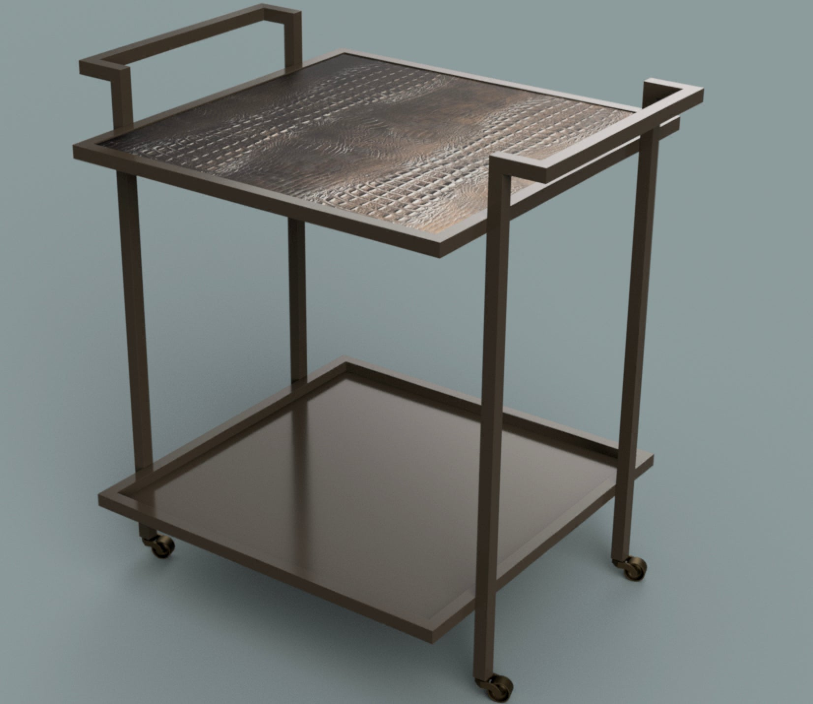 Art Deco Bacco Drinks Trolley in Steel Powder Coated and Marble For ...