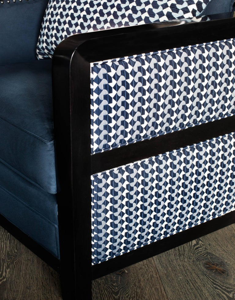 Contemporary Art Deco Bacco Deconstructed Armchair in Novasuede and Belo fabric - SHOWROOM For Sale