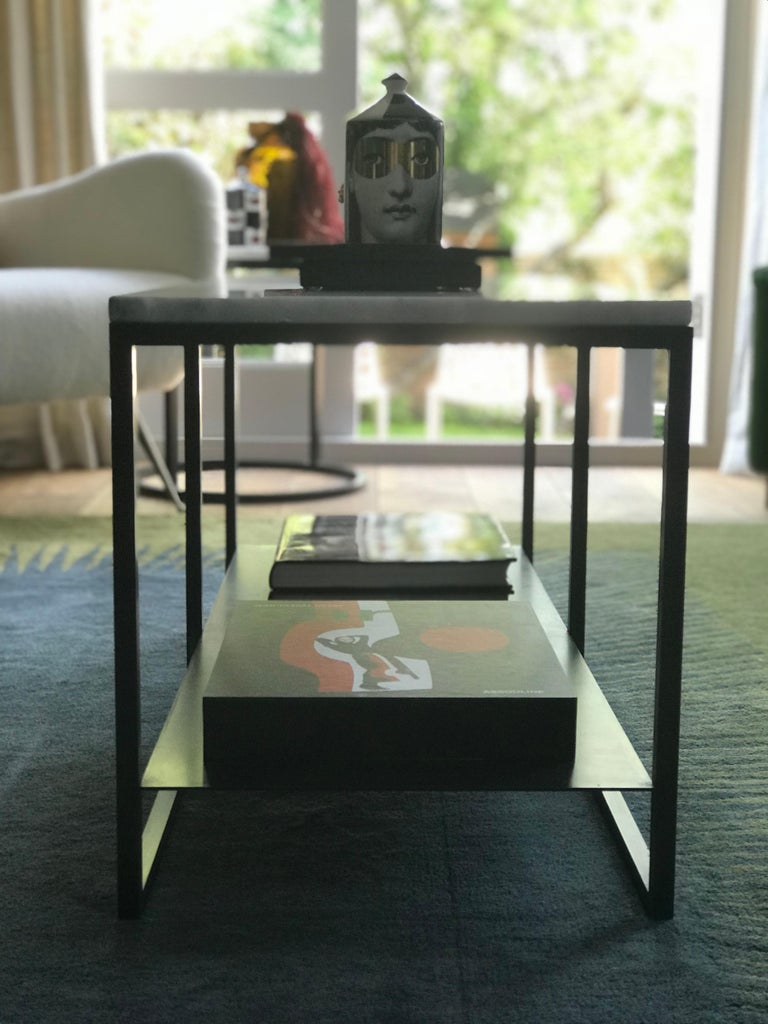 Contemporary Eros Coffee Table in Marble and Powder Coated Steel For Sale 7