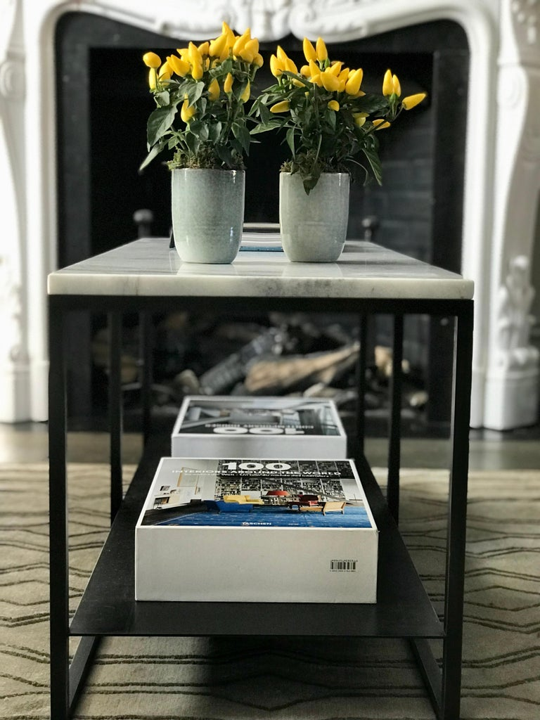 Contemporary Eros Coffee Table in Marble and Powder Coated Steel For Sale 3