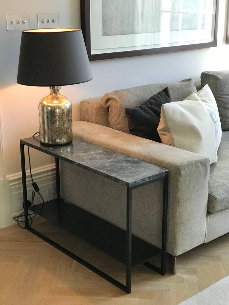 British Contemporary Eros Side Table in Marble and Powder Coated Steel For Sale