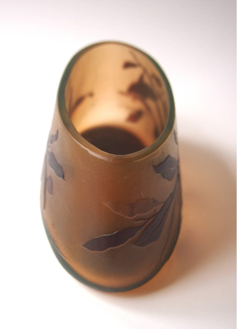 Very rare Moser Art Nouveau cameo vase depicting branches and berries designed by the Viennese Painter Otto Tauscek in brown glass over orange and uranium green -signed twice in cameo MK and Moser Karlsbad -see images 8 and 9. Moser only briefly
