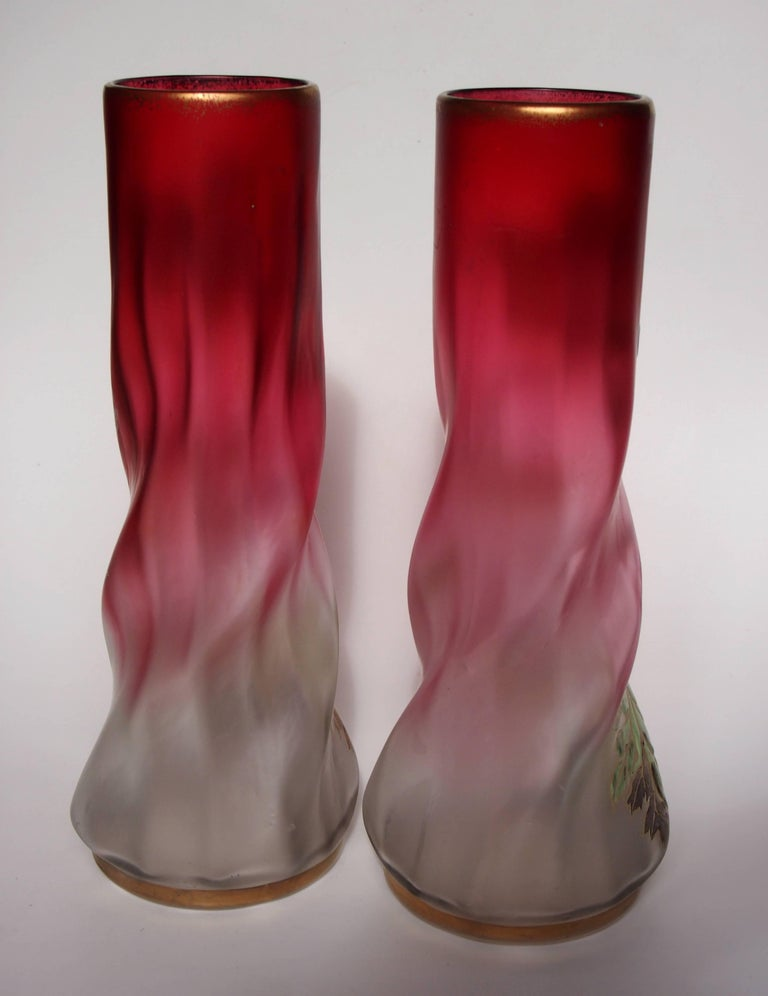 French Late Victorian Legras Pair Vases For Sale