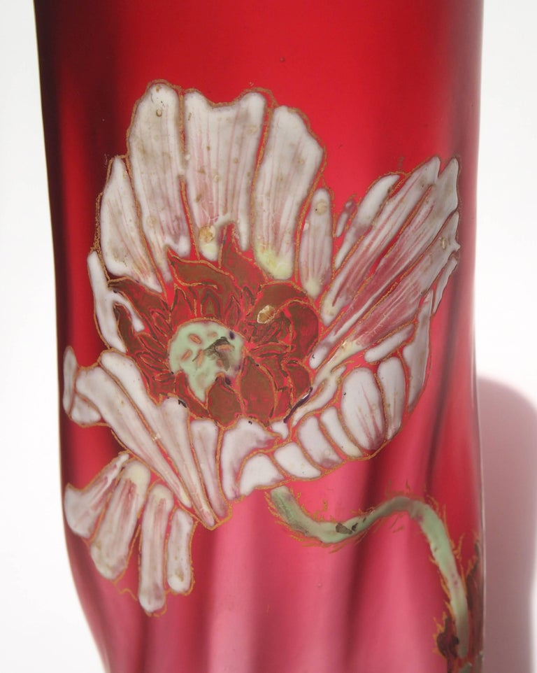 Late 19th Century Late Victorian Legras Pair Vases For Sale