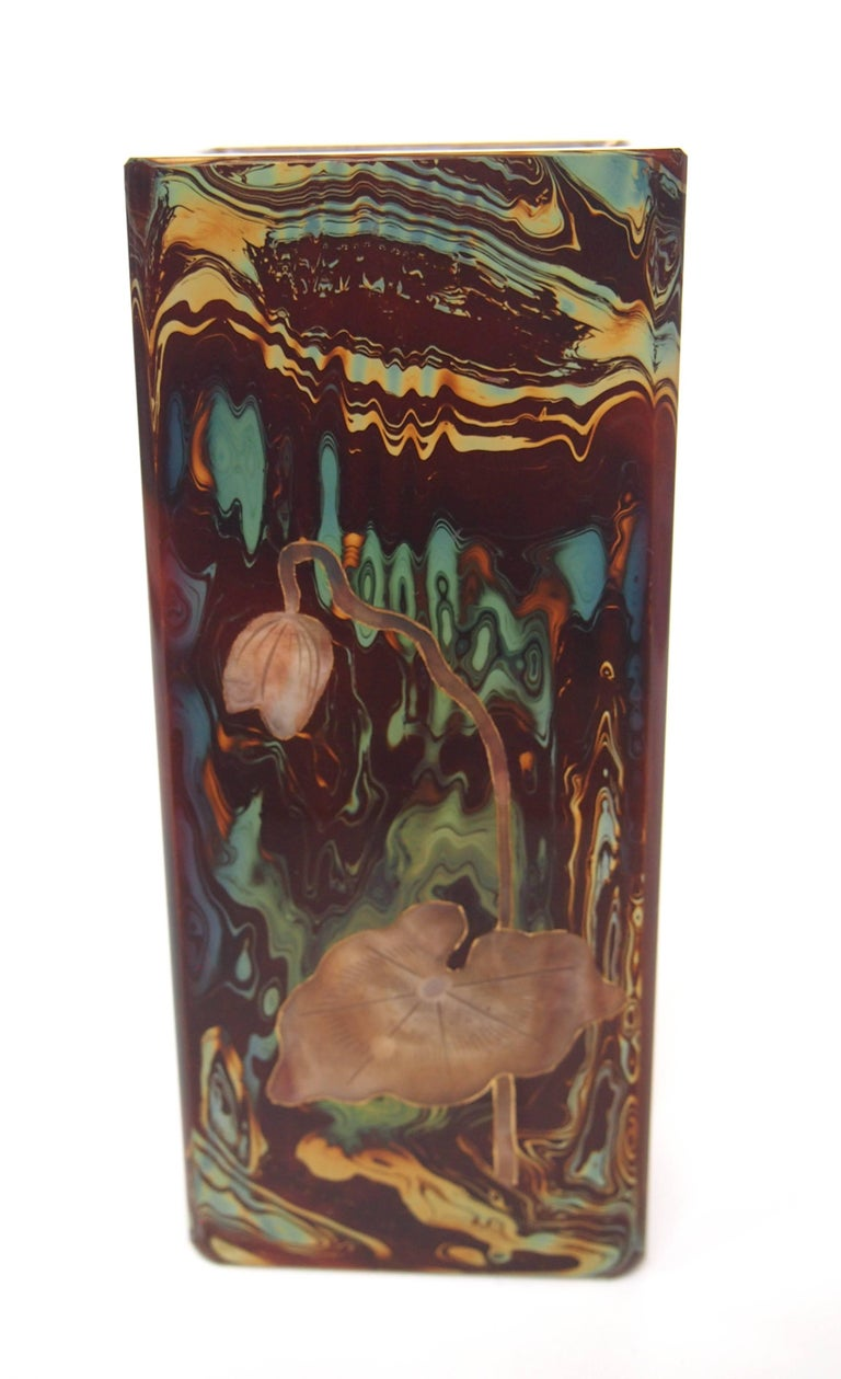 Czech Riedel Cut and Cameo Stone-Like Lithyalin Vase, Victorian For Sale