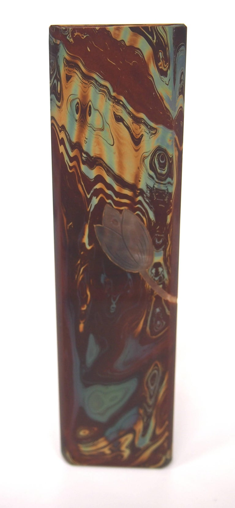 Riedel Cut and Cameo Stone-Like Lithyalin Vase, Victorian In Excellent Condition For Sale In London, GB