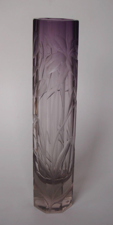 Art Nouveau Large Moser Purple To Clear Intaglio Cut Vase