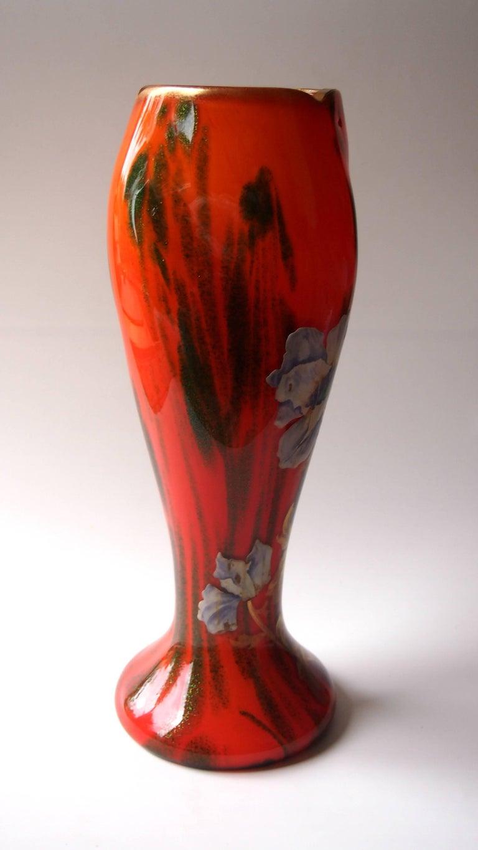 Bohemian Art Nouveau Enamelled Harrach Glass Vase in Orange and Aventurine  Green