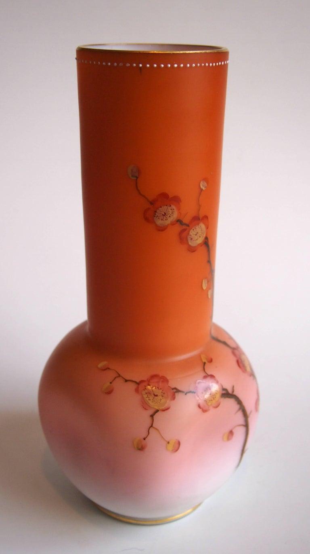 Enameled Late Victorian Loetz Spreading Peach Vase For Sale