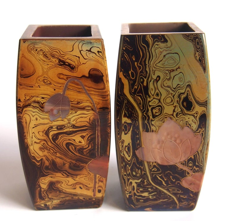 A superb pair of Art Nouveau square barrel cut and cameo Riedel Lithyalin vases depicting cameo water lilies on all sides.  Riedel was one of the finest and largest glass maker in Central Bohemian in the late 19th-early 20th century, one of their