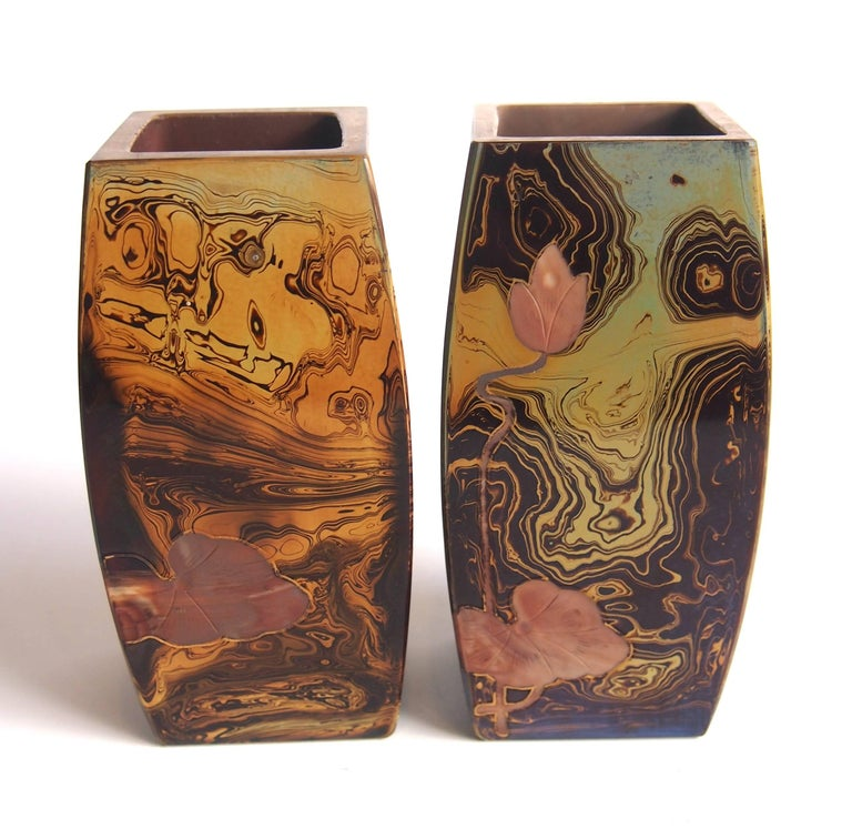 Czech Pair of Art Nouveau Riedel Lithyalin Barrel Vases For Sale