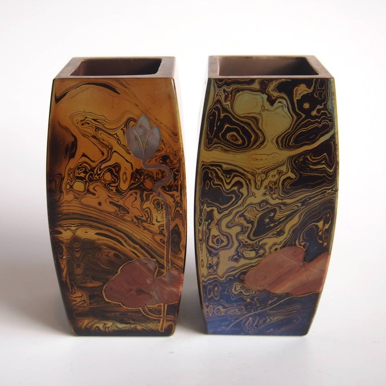 Pair of Art Nouveau Riedel Lithyalin Barrel Vases In Excellent Condition For Sale In London, GB