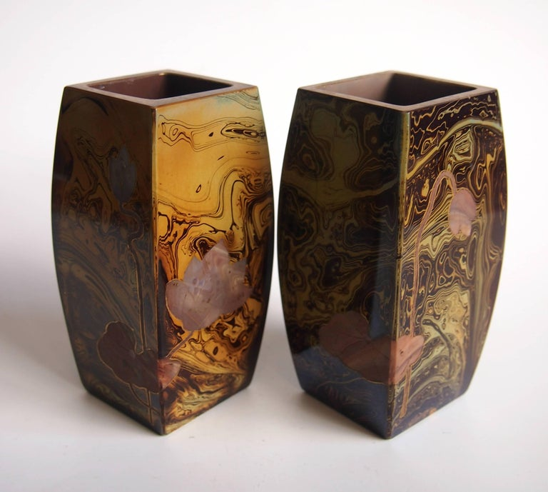 Late 19th Century Pair of Art Nouveau Riedel Lithyalin Barrel Vases For Sale