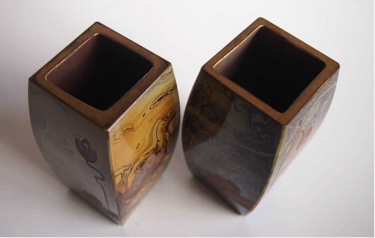 Art Glass Pair of Art Nouveau Riedel Lithyalin Barrel Vases For Sale