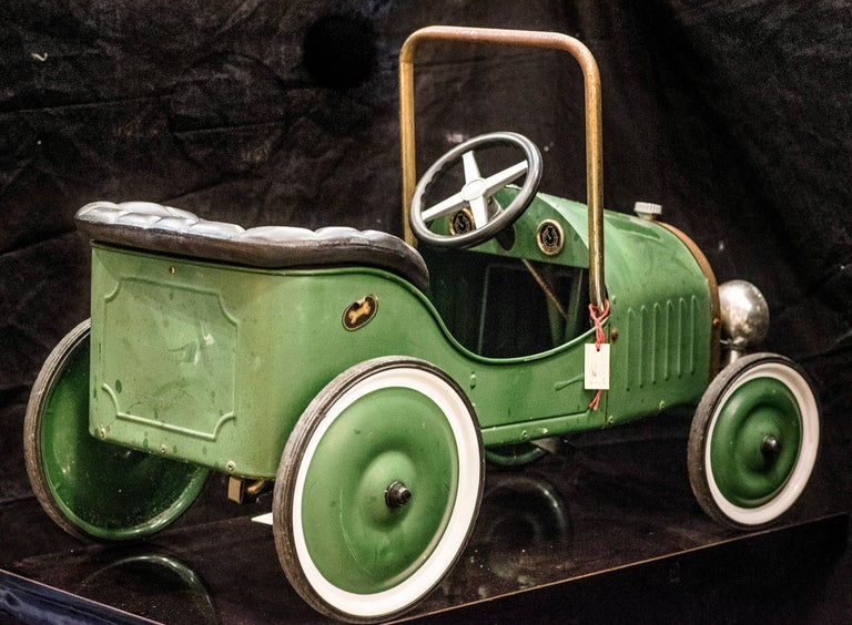 Art Nouveau Mid-20th Century French Green Toy Car For Sale