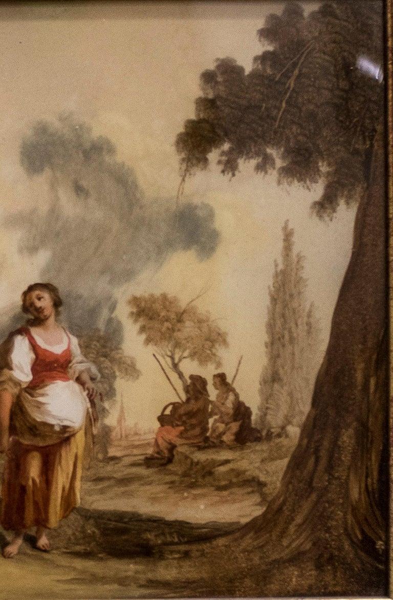 Baroque Rosa da Tivoli 17th Century Italian Oil on Grass For Sale