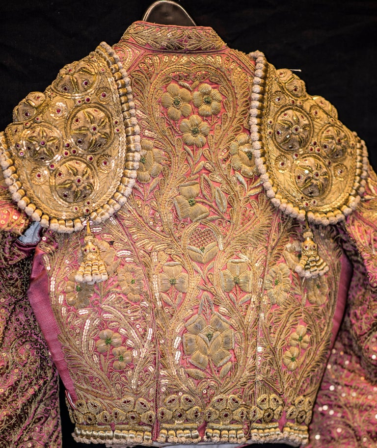 Embroidered  Mid-20th Century Folk-Art Gold and Pink Silk Spanish Matador Costume For Sale