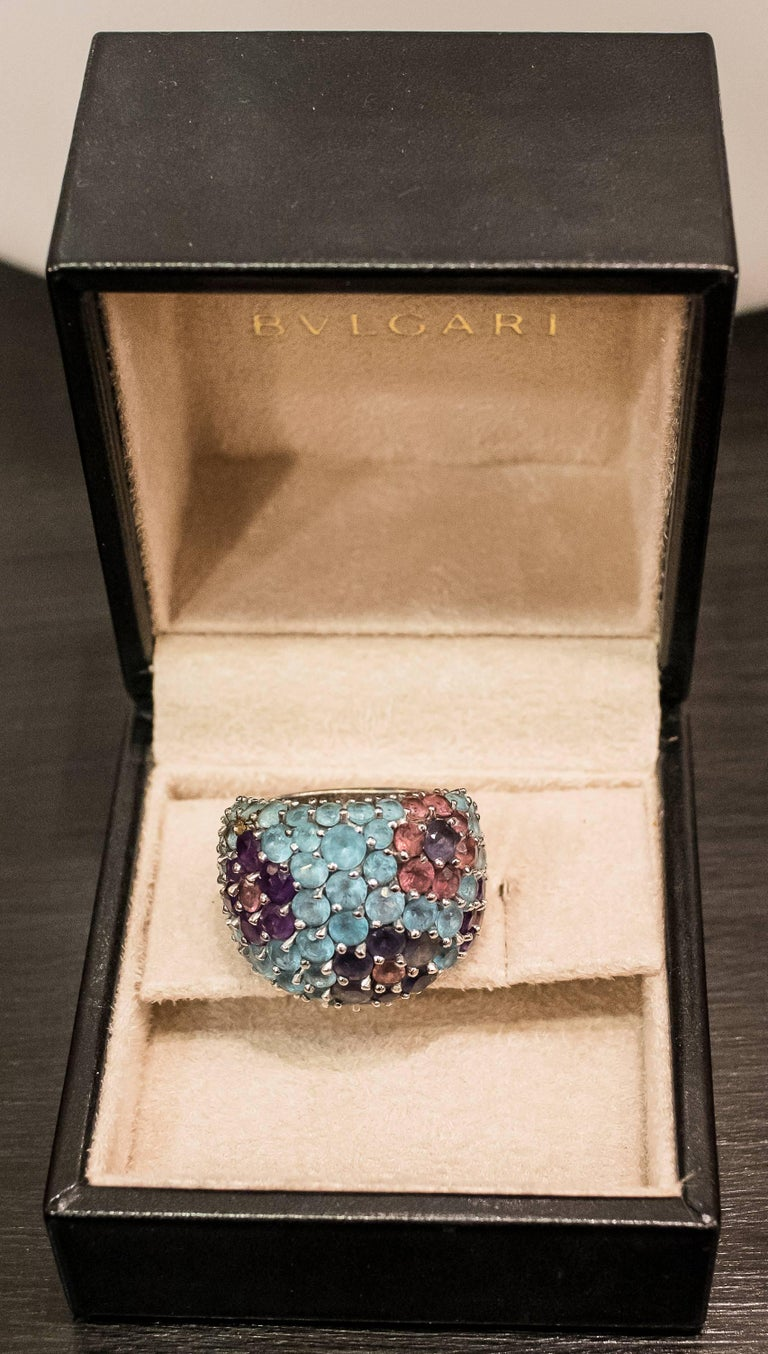 Aesthetic Movement Pasquele Bruni Amethyst Aquamarine, Rose of France and White Gold Italian Ring  For Sale