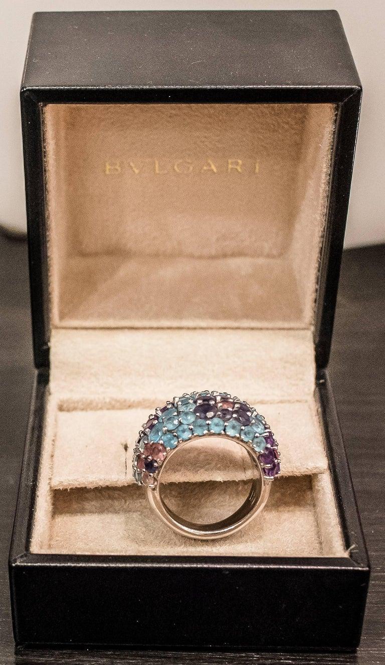 Spanish Pasquele Bruni Amethyst Aquamarine, Rose of France and White Gold Italian Ring  For Sale