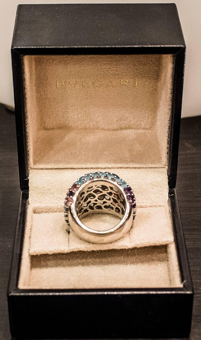 Pasquele Bruni Amethyst Aquamarine, Rose of France and White Gold Italian Ring  In Excellent Condition For Sale In Valladolid, ES