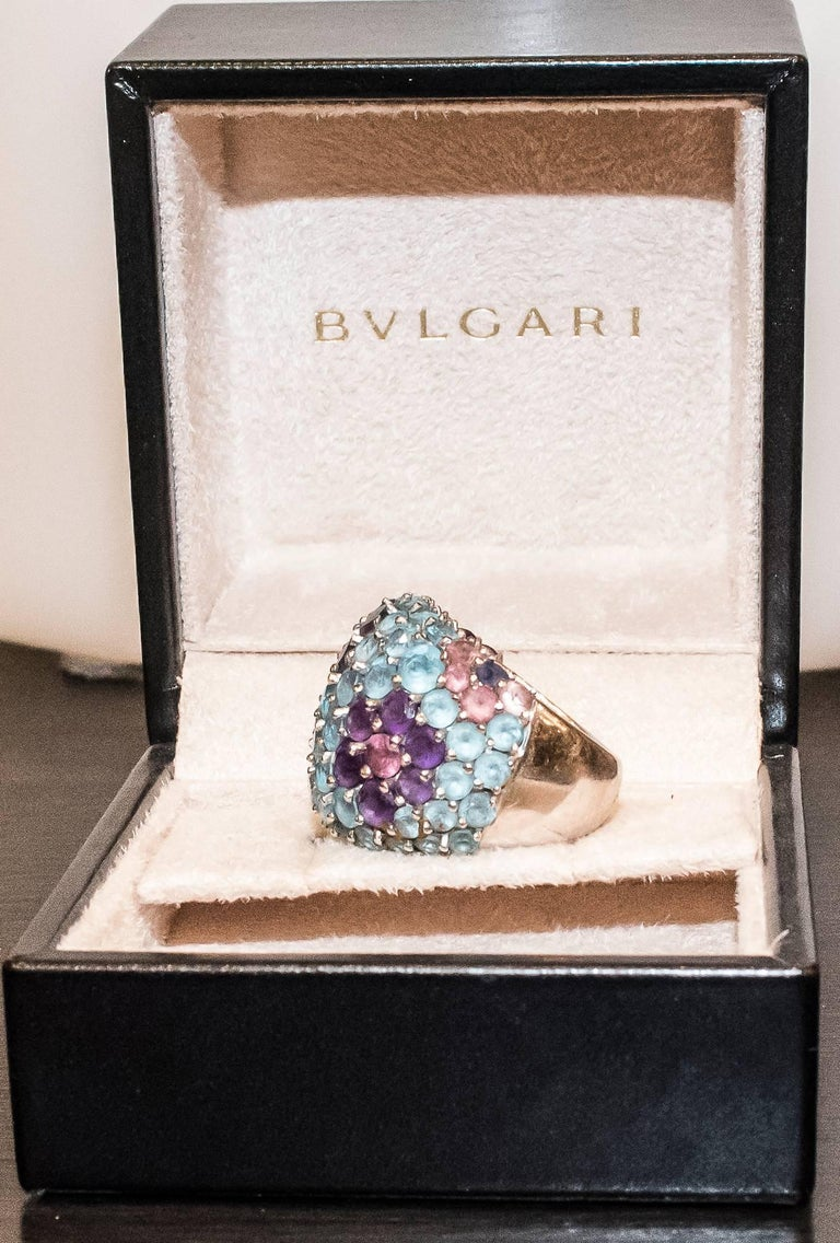 Pasquele Bruni Amethyst Aquamarine, Rose of France and White Gold Italian Ring  For Sale 1
