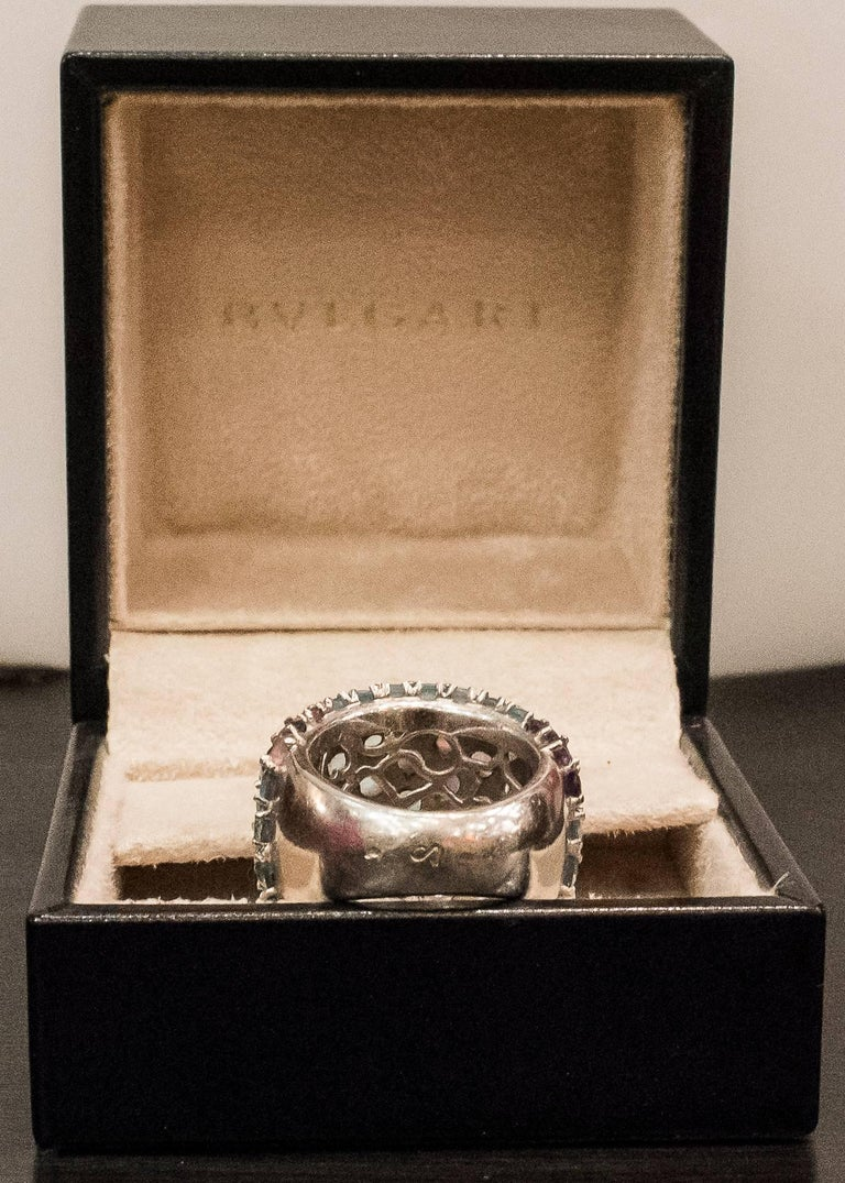 Pasquele Bruni Amethyst Aquamarine, Rose of France and White Gold Italian Ring  For Sale 2